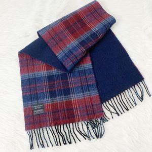 Christian Dior Blue Red Plaid Wool Fringe Scarf